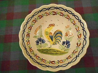 Hb Quimper Rooster Cockerel Fruit Bowl Well Painted French Faience