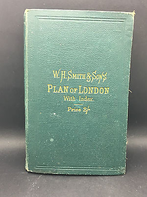 Genuine antique c.1900 W.H.Smith & Sons town plan of London with index
