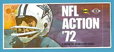 1972 Sunoco Football Stamps Pack Cowboys Design (9 NFL Action Player Stamps)