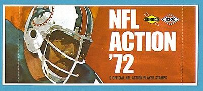 1972 Sunoco Football Stamps Pack Dolphins Design (9 NFL Action Player Stamps)