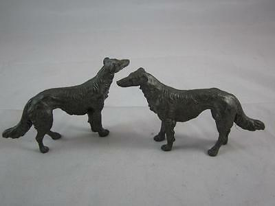 """Antique Pair of Pewter/Lead BORZOI Hound Dog Small Figurines Unmarked 2.5"""" tall"""