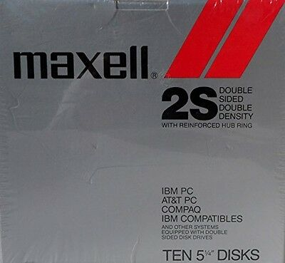 "Maxell 2S Double Sided Double Density Pack of 10 Floppy Disks 5-1/4"" with"