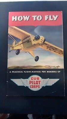 """Vintage Cub Pilot's Corps (Piper) """"How To Fly"""" Aircraft Manual Booklet Brochure"""