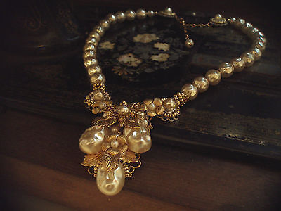 Vintage Gold Flower & Leaf Baroque Pearl Necklace, Very Miriam Haskell Style