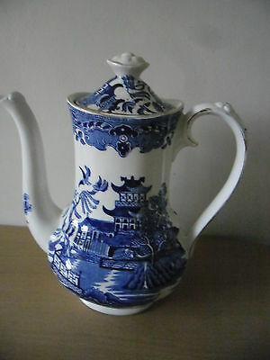 Vintage Staffordshire Burleigh Blue Willow Transferware Coffee Pot in VGC