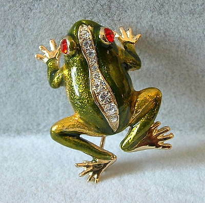 New Handcrafted Shimmery  Enamel & Rhinestone Crystal Green Tree Frog Pin Brooch