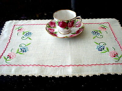 "Lovely VTG Linen Tea Tray Cover/P-M~Hand Emb PINKS~Lace Trim 11 1/2"" x 19"""