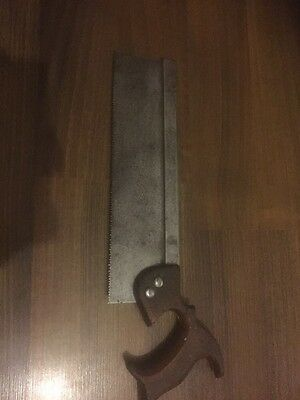 "Vintage 12"" steel backed tenon saw old tool"