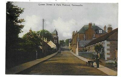 CARNOUSTIE Postcard Angus Queen Street Park Avenue 1907 Dundee Postmark