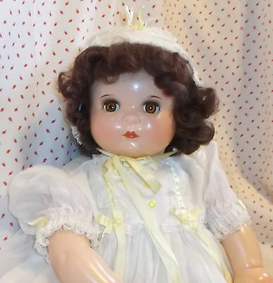 """20"""" Averill BABY GEORGINE Composition & Cloth BABY DOLL marked Organdy outfit"""