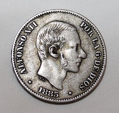 1885 Spanish Phillipines Alfonso Xii Centavos Silver Peso Estate Coin--Look Nr!