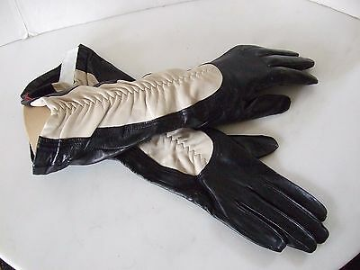 Unusual Black Kidskin Leather Gloves with White Shirred Inserts NWT $195 Retail