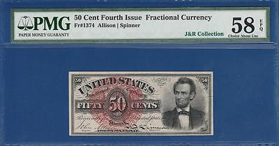 1869 Fourth Issue Fractional $0.50 Fr. 1374 PMG Almost Uncirculated AU 58EPQ C2C
