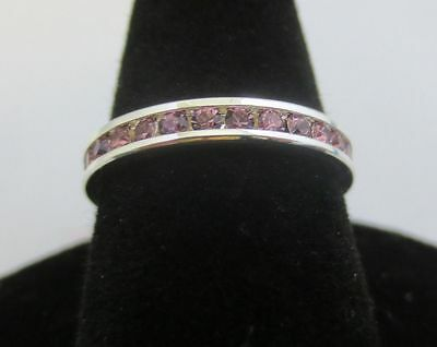 Size 5 Sterling Silver Plated Eternity June Lt Amethyst Stackable  Ring