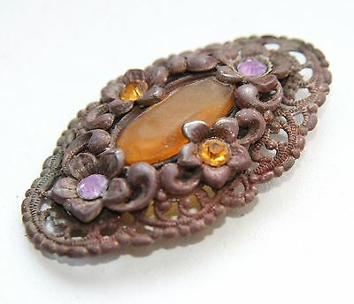Antique Old Brooch With Amber Insert