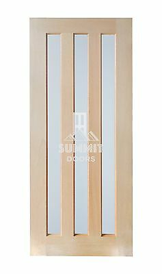 3 Frosted Glass Entrance Door - Solid Engineered Timber Hardwood Stain Grade