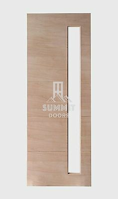 1 Vertical Clear Glass Entrance Door - Solid Engineered Timber Hardwood