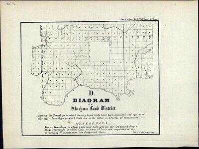Florida Alachua Land District antique map 1856 old lithog Hoen early townships