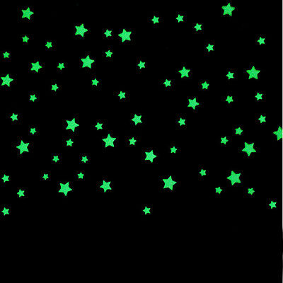 100PC Kids Bedroom Beautiful Fluorescent Glow In The Dark Stars Wall Stickers