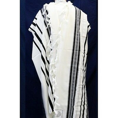 TRADITIONAL WOOL TALLIT WITH BLACK & SILVER STRIPES Jewish Prayer Shawl SIZE 60
