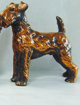 "VINTAGE Copper Colored Metal AIREDALE TERRIER Dog Figurine 5 1/2"" high NICE!"