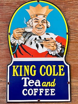 """KING COLE TEA & COFFEE 15""""x9"""" GENERAL STORE PORCELAIN COUNTER SIGN. No Reserve!!"""