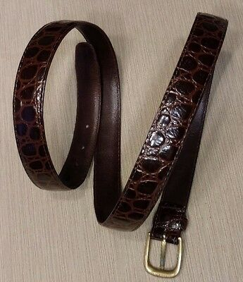 Vintage Mens Imported Alligator Leather Belt 40 w/ Solid Brass Buckle