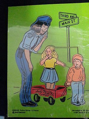 Vintage Judy Instructo 1991 Lady Police Officer Wood Puzzle  Judy Flyer wagon