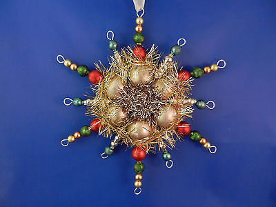 Vintage style Beaded red & green snowflake Christmas Glass Ornament 010008