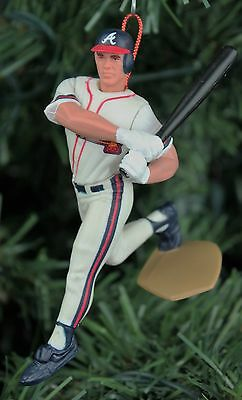 Javier Lopez Atlanta Braves White Uniform Power Swing Christmas Tree Ornament