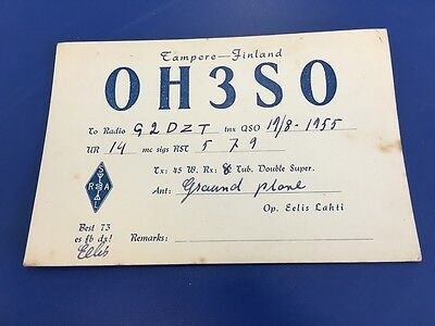Vintage QSL Ham Radio Card - 1955 - OH3SO - Finland To UK