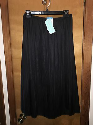 New Women Black Satin Glance Vanity Fair Half Slip Xl 28""