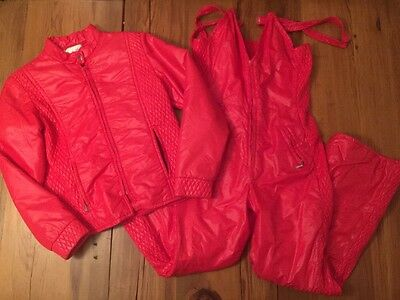 Vtg 80s SPORTCASTER Winter Snow SKI SUIT Womens MEDIUM Red Jacket Bibs Quilted