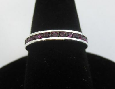 Size 6 Sterling Silver Plated Stackable February Amethyst Eternity Ring