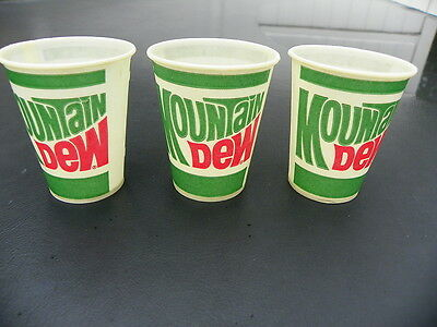 Mountain Dew Soda Wax Cup Set Of 3 Cups