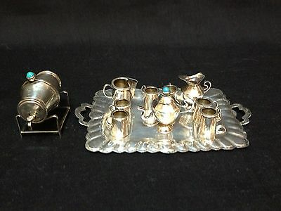 Vintage 12 Pc Sterling Silver & Turquoise  Miniature Tea Set Tray 925 Mexico 42g