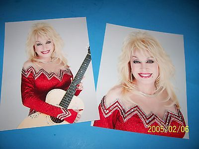 DOLLY PARTON SET OF (2) PUBLICITY PHOTO`S (8.5 X 11) red.  Silver