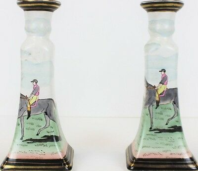 """Pair of Jockey China Candlesticks"""