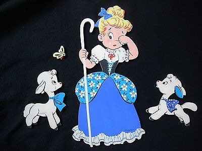 Vintage Dolly Toy Co Little Bo Peep nursery wall plaque / Mother Goose Pin Ups