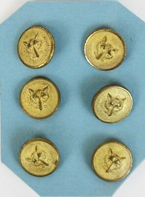 """Fab Set of (6) English Brass Fox Head English Buttons"""