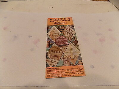 Vintage 1930's Boston Elevated  Railroad Guide And Information  Brochure