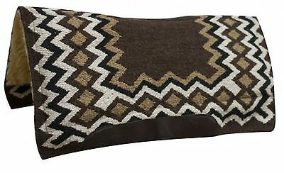 "Showman BROWN 34"" x 36"" Contoured Wool Top Cutter Style Saddle Pad! HORSE TACK!"