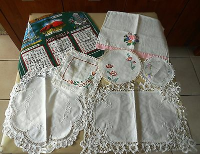 Lot Of 7 X Battenberg Embroidered Doilies Runners And Vintage Hand & Tea Towel