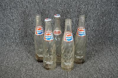Set Of Five 10-Oz Pepsi-Cola Glass Bottles With 2 Caps