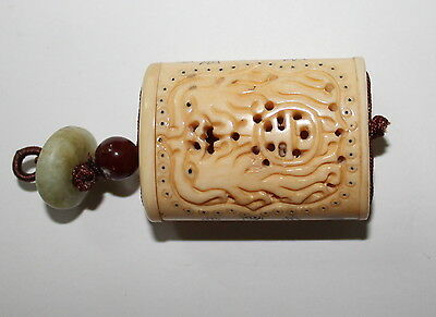 Vintage Antique Chinese Hand Carved / Etched Bovine Bone Cricket Cage Scent Box