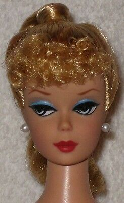 Vintage Barbie Repro/reproduction-Blonde Ponytail/curly Bangs-Nude-Mint