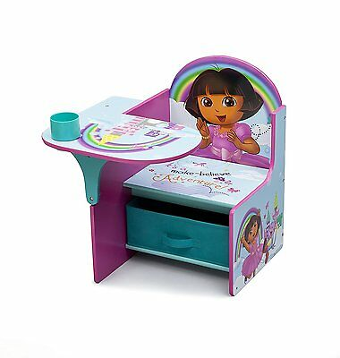 Delta Dora The Explorer Rainbow Desk w/ Chair Toy Storage Bin Box Organizer NEW
