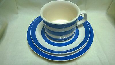 T G GREEN CORNISHWARE CUP SAUCER PLATE TRIO BLUE & WHITE 1980s
