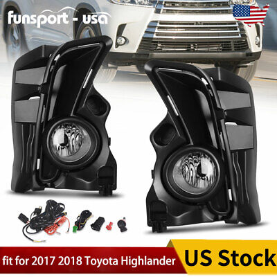 for 2017 2018 Toyota Highlander Clear Fog Light Front Bumper Lamps+Wiring+Switch