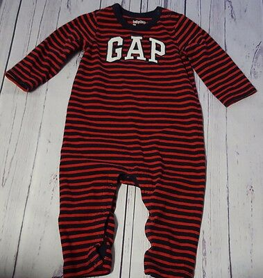 Baby Gap Boys 6 12 Months Red Navy Blue Striped Logo One Piece Outfit From 2015